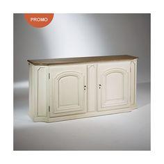 Buffet plateau chêne, patine blanc ivoire, 2 portes, ELISABETH