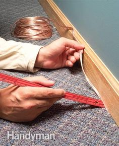 How to Hide Wiring: Speaker and Low-Voltage Wire Ways to hide speaker, telephone, thermostat and other types of low-voltage wiring Hiding Speaker Wires, Hide Wires, Hiding Cords, Deco Tv, Home Theater Seating, Theater Rooms, Theatre, Home Theater Speakers, Wall Mounted Tv