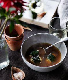 Rabbit broth with rabbit and barley dumplings | Sean Moran recipe - Gourmet Traveller