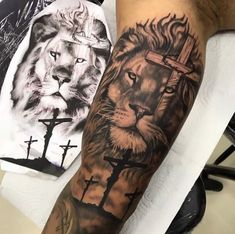 Bicep Tattoo Men, Lion Forearm Tattoos, Lion Head Tattoos, Inner Bicep Tattoo, Arm Tattoos For Guys, Jesus Forearm Tattoo, Lion Chest Tattoo, Tiger Tattoo Sleeve, Lion Tattoo Sleeves