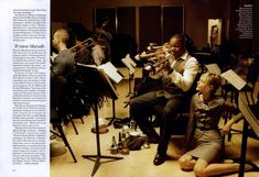 """World-famous trumpeter Wynton Marsalis with Sasha Pivovarova and the the JALC Orchestra, photographed by Annie Leibovitz for """"Manhattan Rhapsody"""" editorial, Vogue December 2009."""