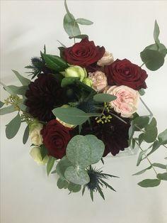 Bordeaux, red wedding bouquet