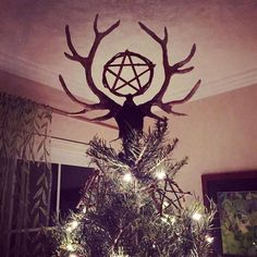 Wildcrafted Yule Tree Ornaments – Painted Wood, Wreaths, Awens, and Pentacles - Handmade Stag and Pentacle Tree Topper with Handmade Ornaments - Pagan Yule, Wiccan, Magick, Norse Pagan, Yule Crafts, Christmas Crafts, Felt Christmas, Homemade Christmas, Christmas Ornaments