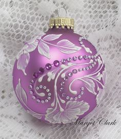 Fuschia Hand Painted 3D MUD Floral Texture Design with Bling 399 by MargotTheMUDLady on Etsy