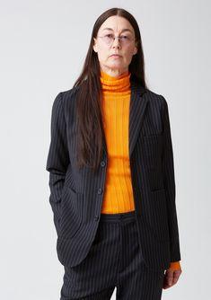 Prime Blazer - Dk Grey Stripe - Blazers - Women's Collection - Hope STHLM Striped Blazer, Grey Stripes, Blazers, Turtle Neck, Wool, Sleeves, Fabric, Sweaters, Clothes