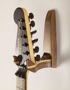 Stylish High Gloss Walnut and Maple Guitar Wall Hanger by Feneg