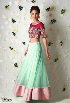 Marsala net crop top with mint net lehenga by Renee label