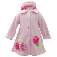 Amazon.com: Bonnie Jean Baby/INFANT 12M-24M 2-Piece PINK BONAZ BORDER FLEECE COAT and HAT SET: Clothing....Oh...I want this one too...