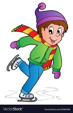 Cartoon skating boy vector image on VectorStock