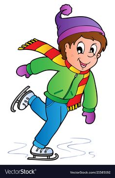 Cartoon skating boy vector image on VectorStock Winter Wonder, Winter Fun, Adobe Illustrator, Santa Decorations, Winter Activities For Kids, Preschool Learning, Drawing For Kids, Christmas Art, Skate