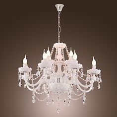 White Crystal Chandelier with 12 Lights – USD $ 399.99