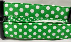 Green with White Polka Dots Dog Collar by HalasPaws on Etsy