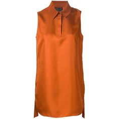 Rag & Bone Sleeveless Blouse (5161945 BYR) ❤ liked on Polyvore featuring tops, blouses, orange top, rag & bone, sleeveless blouse, rag & bone blouse and orange sleeveless top