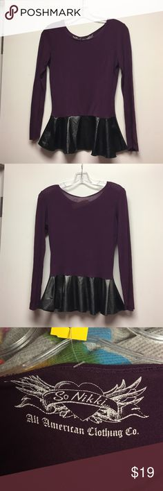 So Nikki size 12/14 peplum shirt So Nikki size 12/14 peplum shirt. Rayon purple top with black pleather bottom peplum part. Gently worn in great condition. Consigned to my boutique no trades So Nikki Shirts & Tops Tees - Long Sleeve