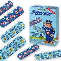 Kinderpflaster Polizei 20 Stück, Heftpflaster für Kinder mit Polizeimotiven, 1.Hilfe Zubehör, MItgebsel zur Polizeiparty
