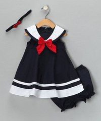 Navy Nautical Dress Set - Infant, Toddler & Girls by Good Lad on zulilyNavy Nautical Dress Set - Adorable a salute to daddy!Just like an outfit I had when I was a baby. Navy Nautical Dress Set from Good Lad oncute [from Good Lad on SO cute! Little Girl Outfits, Little Girl Fashion, Baby Outfits, Fashion Kids, Toddler Fashion, Toddler Outfits, Dress Outfits, Nautical Dress, Nautical Style