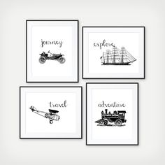 Explore the World - Transportation Print - Kids Room Decor - Playroom Decor - Train, Air Plane, Classic Car, Boat - Nursery Print - Set of 4 by SimplyLoveCreations on Etsy https://www.etsy.com/listing/477540007/explore-the-world-transportation-print