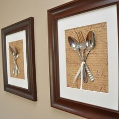 Framed cutlery! Adorable to do a couple for the dining room in fancy schmancy frames  painted to match. Use the silver mis-matched pieces we have from Jason's parents.