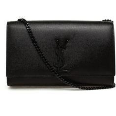 SAINT LAURENT Leather Monogram Shoulder Bag found on Polyvore featuring bags, handbags, shoulder bags, bolsas, clutches, purses, ysl, genuine leather handbags, cocktail purse and yves saint laurent handbags