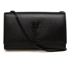 SAINT LAURENT Mini Monogram Bag with Tassel ($1,920) ❤ liked on Polyvore featuring bags, handbags, purses, clutches, accessories, bolsas, black, leather handbags, monogram purse and black evening handbags