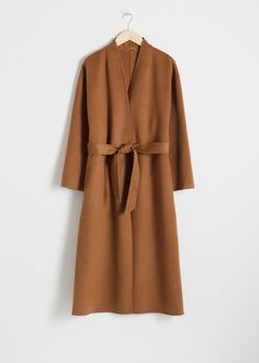 Belted Wool Blend Coat - Camel - Woolcoats - & Other Stories Camel Coat Outfit, Weekend Outfit, Fashion Story, Coat Dress, Lady, Wool Blend, Long Sleeve Tops, Duster Coat, Autumn Fashion
