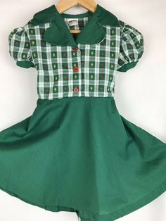 3c99fc13a0 Vintage Cotton School Girl Dress Green Red Yellow Hearts Plaid 5T