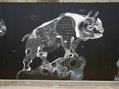 Impermanent Animal Murals Drawn with Chalk and Oil Pastel by Philippe Baudelocque