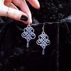 Tatting Earrings, Tatting Jewelry, Lace Earrings, Lace Jewelry, Tatting Lace, Diy Jewelry, Crochet Earrings, Handmade Jewelry, Jewelry Making