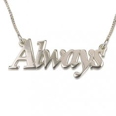 14K White Gold Thicker Font Name Necklace