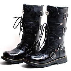 Men Black Knee High Cyber Goth Punk Fashion Cowboy Riding Biker Boots SKU-1280088