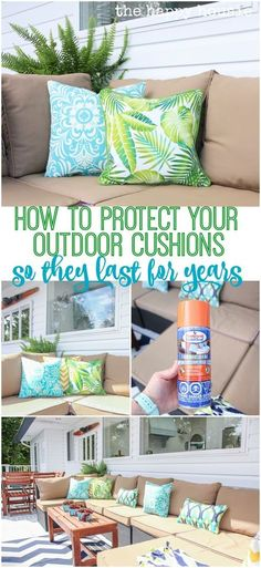How to Protect Your Outdoor Cushions from the elements of summer so they last you for years My best tip for how to protect your outdoor cushions using a spray on fabric seal. Help your outdoor cushions last and protect them from sun and rain. Outdoor Sofa, Outdoor Spaces, Outdoor Living, Cushions For Outdoor Furniture, Outdoor Seating, Outdoor Patio Cushions, Waterproof Outdoor Cushions, Outside Cushions, Cleaning Outdoor Cushions