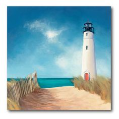 Blue Sky Lighthouse Canvas Wall Art - x in. - Classic and breathtaking, the Blue Sky Lighthouse Canvas Wall Art - x in. will get you dreaming of your time on coast. This canvas art. Painting Prints, Watercolor Paintings, Art Prints, Art Paintings, Landscape Paintings, Abstract Canvas, Canvas Wall Art, Beach Canvas Paintings, Lighthouse Painting