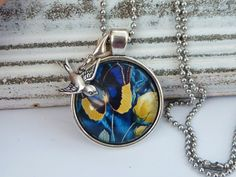 Elegant necklace in silver with beautiful butterfly and rose motif, swallow necklace, bird necklace, flower necklace, fairy necklace - pinned by pin4etsy.com