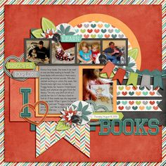 great idea for zoelukas, my book loving kid. digital scrapbook layout by nicole