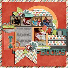 I <3 Books digital scrapbook layout by nicole