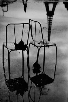 Reflections of chairs and the Eiffel Tower, Paris - 1957 - Photo by Jean Mounicq