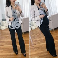 Work outfit ideas that hide a belly pregnant work outfits maternity petite business pants. Business Professional Outfits, Business Casual Outfits, Maternity Business Casual, Business Fashion, Maternity Work Clothes, Maternity Fashion, Hiding Pregnancy, Elegantes Outfit Frau, Hide Belly