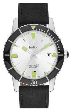 Zodiac 'Sea Wolf' Automatic Leather Strap Watch, 40mm available at #Nordstrom