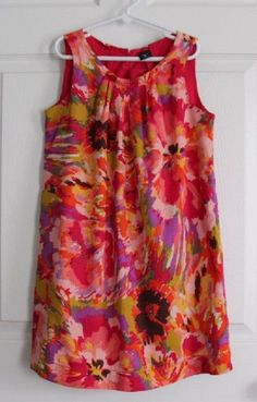 GapKids Girl's M 8 PORTOBELLO Watercolor Floral Pin-Tucked Tunic Dress Sundress #GapKids #DressyEverydayHoliday