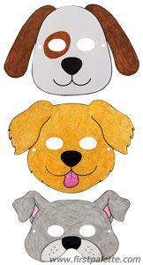 Dog masks and other free printable animal masks - Kinder Animal Masks For Kids, Mask For Kids, Animals For Kids, Dog Crafts, Animal Crafts, Preschool Crafts, Dog Themed Crafts, Easy Crafts, Dog Costumes For Kids
