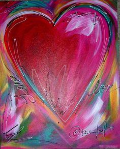 Art Journal Inspiration, Painting Inspiration, Art Inspo, Valentines Watercolor, Heart Painting, I Love Heart, Diy Arts And Crafts, Heart Art, Rock Art