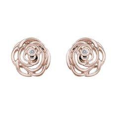 The perfect rose gold finishing touch...Hot Diamonds Eternal Rose rose gold-plated stud earrings- Ernest Jones #ernestjones #roses