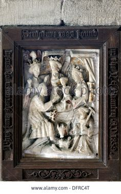 A medieval alabaster sculpture of the adoration of the magi, St Wifrid's Church, Burnsall, Yorkshire Dales, England Stock Photo