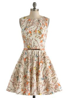 Luck Be a Lady Dress in Bird Song - Mid-length, Cream, Multi, Print with Animals, Belted, Party, Fit & Flare, Sleeveless, Pockets, Daytime Party, Cotton, Variation, Boat