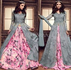 pink and grey Colour combo Indian Gowns Dresses, Pakistani Dresses, Party Wear Indian Dresses, Indian Attire, Indian Outfits, Pretty Dresses, Beautiful Dresses, Desi Clothes, Bollywood Fashion