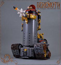 The Behemoth - front Steampunk Lego, Lego Creator Sets, Cool Lego Creations, Alternate History, Lego Stuff, Lego Moc, Lego Building, Lego Ideas, Dreamworks