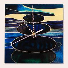 Zen - Handmade - Handbemalte - kézzel festett üvegóra - 20x20