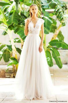 christos costarellos bridal 2015 br15 25 cap sleeve lace top a line skirt wedding dress