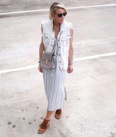 striped dress 2017 with denim vest and saddlebag