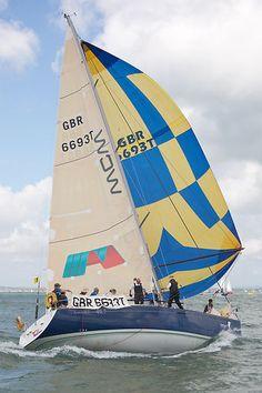 The Beneteau First 40.7 yacht 'Fandango' racing during Cowes Week 2013.